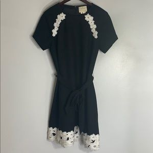 Kate Spade black white floral embroidered dress